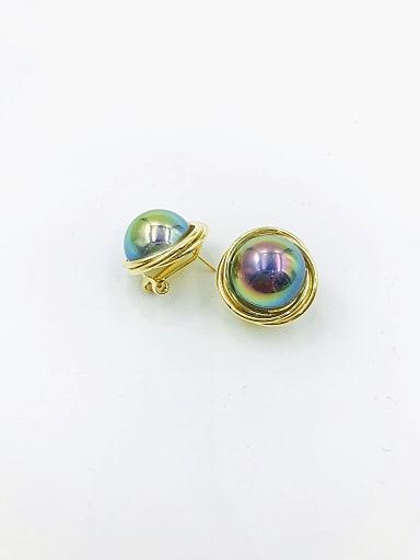 Brass Imitation Pearl Multi Color Irregular Trend Clip Earring