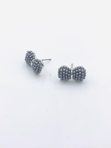 Zinc Alloy Imitation Pearl Gray Bowknot Dainty Stud Earring