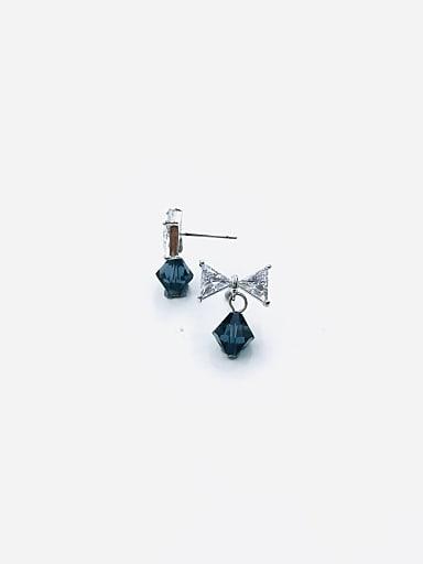 Brass Swarovski Crystal Blue Bowknot Dainty Drop Earring