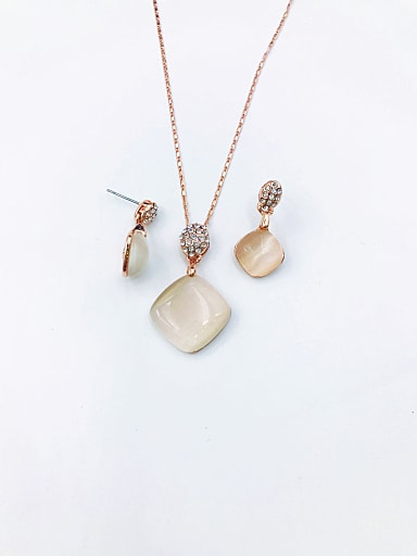 Classic Square Zinc Alloy Cats Eye White Earring and Necklace Set
