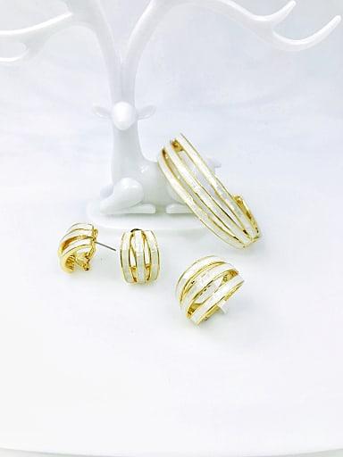 Zinc Alloy Shell White Minimalist Ring Earring And Bracelet Set