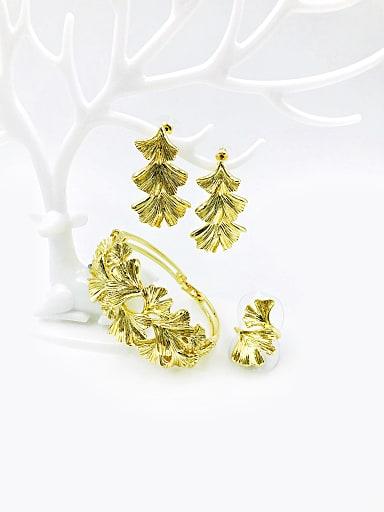 Zinc Alloy Trend Leaf Ring Earring And Bracelet Set