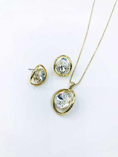 Minimalist Oval Zinc Alloy Glass Stone Clear Earring and Necklace Set
