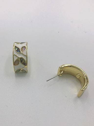 Zinc Alloy Shell Multi Color Enamel Classic Stud Earring
