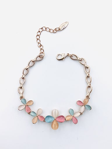 Zinc Alloy Cats Eye Multi Color Flower Trend Bracelet