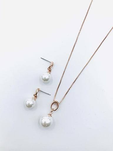 Minimalist Ball Zinc Alloy Imitation Pearl White Earring and Necklace Set