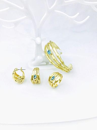 Zinc Alloy Glass Stone Blue Minimalist Irregular  Ring Earring And Bracelet Set