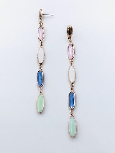 Zinc Alloy Glass Stone Multi Color Enamel Oval Trend Drop Earring