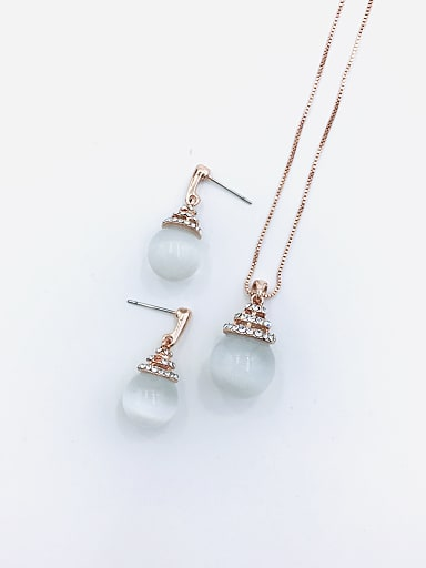 Classic Ball Zinc Alloy Cats Eye White Earring and Necklace Set