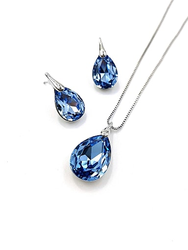Minimalist Water Drop Zinc Alloy Glass Stone Blue Earring and Necklace Set