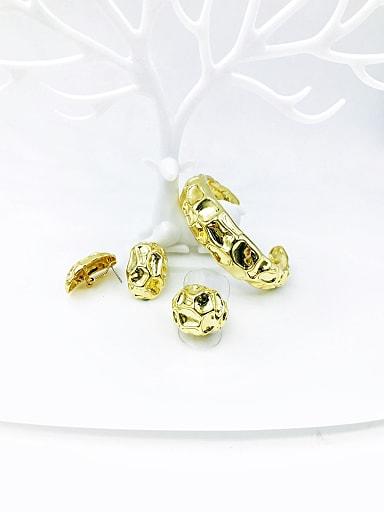 Zinc Alloy Minimalist Irregular Ring Earring And Bracelet Set