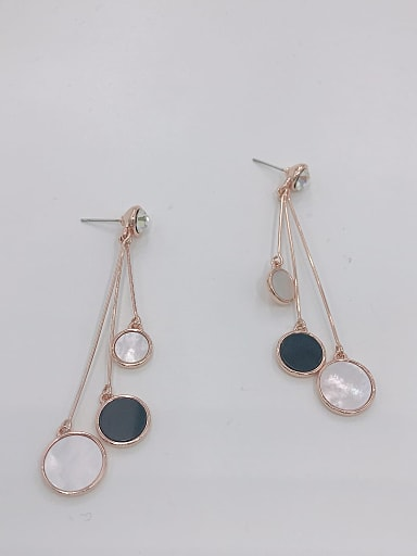 Zinc Alloy Shell White Acrylic Round Trend Drop Earring