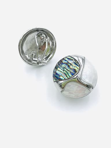 Zinc Alloy Shell Multi Color Round Classic Clip Earring