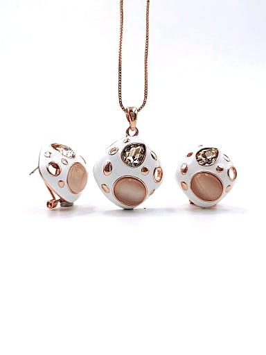 Trend Geometric Zinc Alloy Cats Eye White Enamel Earring and Necklace Set