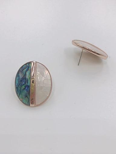 Zinc Alloy Shell Multi Color Oval Minimalist Stud Earring
