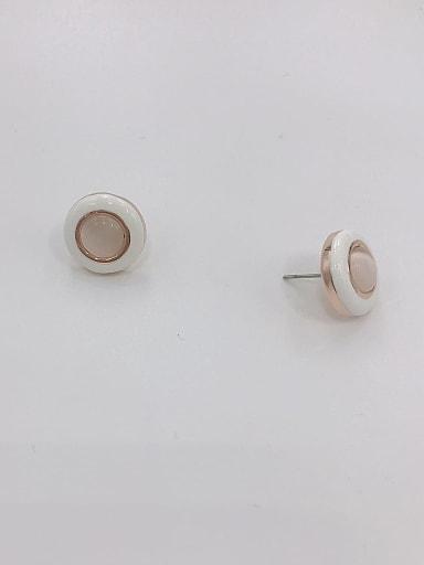 Zinc Alloy Cats Eye White Enamel Round Minimalist Stud Earring