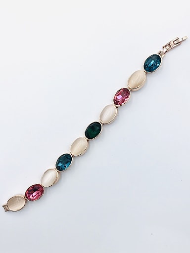 Zinc Alloy Glass Stone Multi Color Oval Trend Bracelet