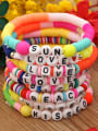 thumb Stainless steel Multi Color Polymer Clay Letter Bohemia Stretch Bracelet 0