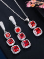 thumb Brass Cubic Zirconia Luxury Geometric  Earring and Necklace Set 2