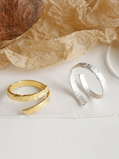 925 Sterling Silver With  Simplistic Irregular Uneven Surface Double Layer Free Size Rings
