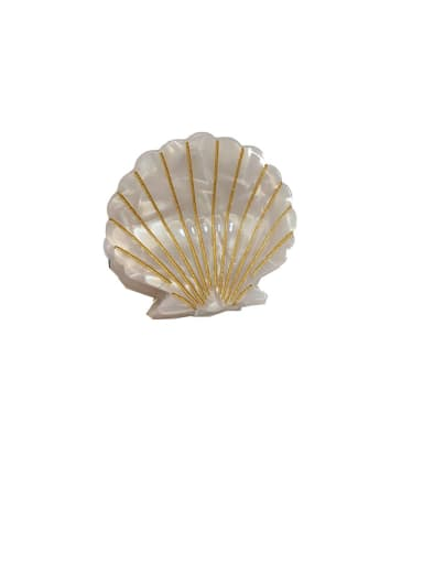 Brilliant - Gem white Alloy With  Cellulose Acetate Fashion Shell  Irregular Barrettes & Clips