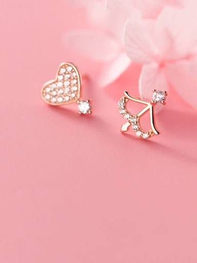 925 Sterling Silver With Platinum Plated Fashion Geometric Stud Earrings