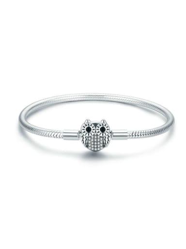 925 Silver Cute Owl Chain Bracelet