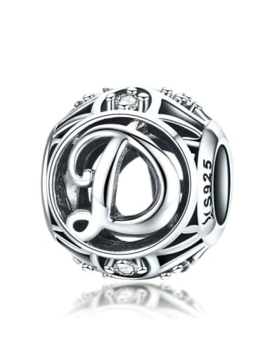 D 925 silver letter charms