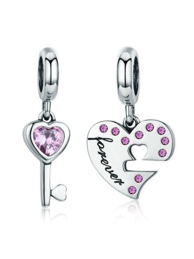 925 silver cute heart lock charm