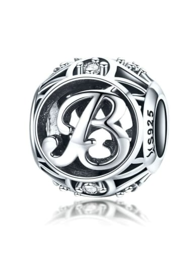 B 925 silver letter charms