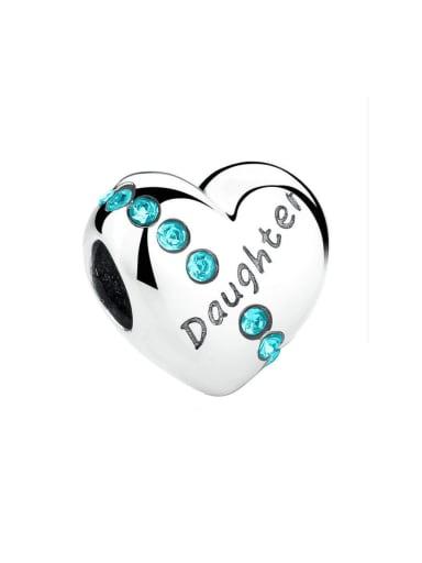 Daughter 925 silver cute heart charm