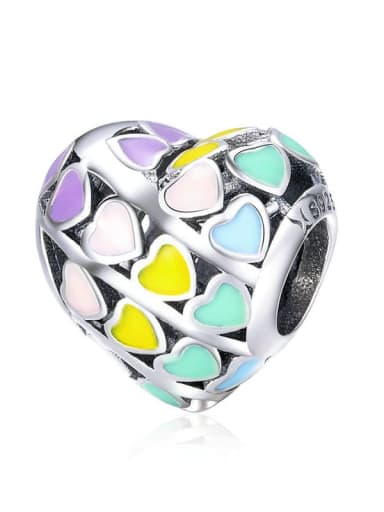 Heart-shaped rainbow 925 silver rainbow charm