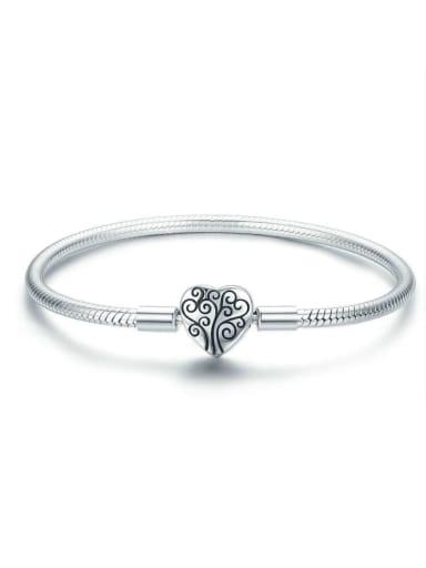925 silver cute heart Chain Bracelet