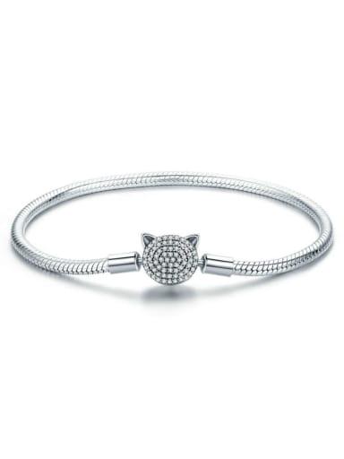 925 silver cute cat Chain Bracelet