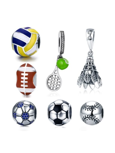 925 silver various sports ball charms