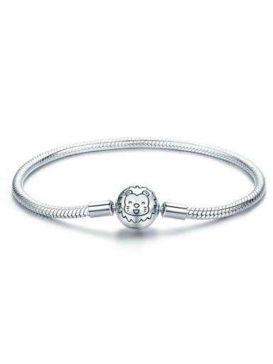 925 silver cute lion Chain Bracelet