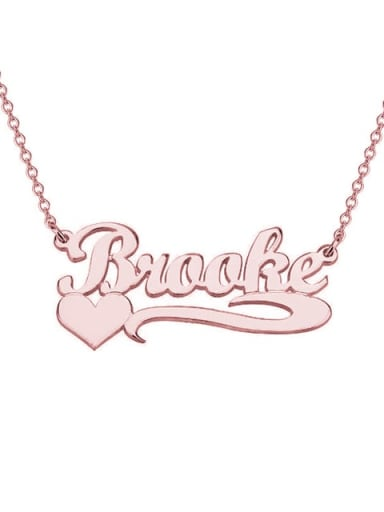18K Rose Gold Plated Personalized  Heart Name Necklace silver
