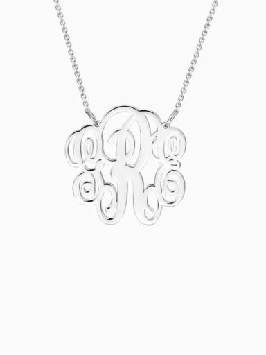 18K White Gold Plated Customize Small Fancy Monogram Necklace silver