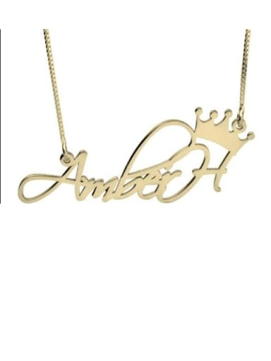 18K Gold Plated Aber style Personalized Princess Crown Name Necklace silver