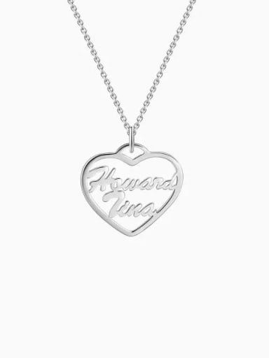 Customized Silver Personalized Heart Two Name Necklace