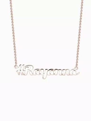 18K Rose Gold Plated Customized Silver Hashtag Name Necklace