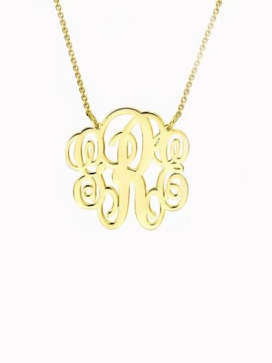 18K Gold Plated Customize Small Fancy Monogram Necklace silver