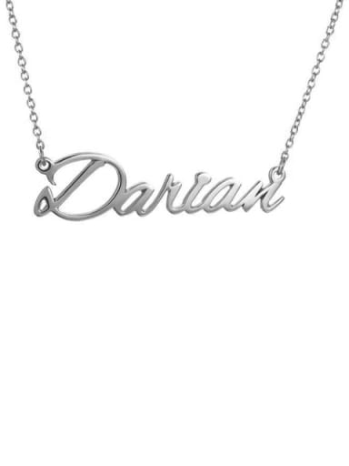 18K White Gold Plated Custom Darian style  Name Necklace Silver