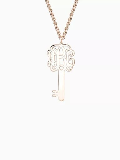 18K Rose Gold Plated Customize Key Monogram Necklace Silver