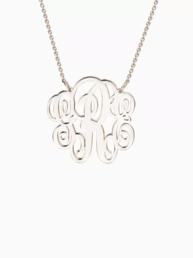 18K Rose Gold Plated Customize Small Fancy Monogram Necklace silver