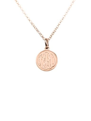 18K Rose Gold Plated Customize Embossed  Monogram Necklaces sterling siver