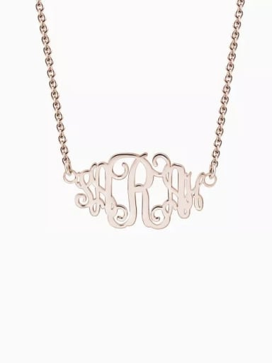 18K Gold Plated Customize Celebrity Monogram Necklace sterling Silver