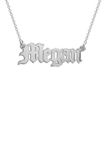 18K White Gold Plated Megan style Personalized old english Name Necklace