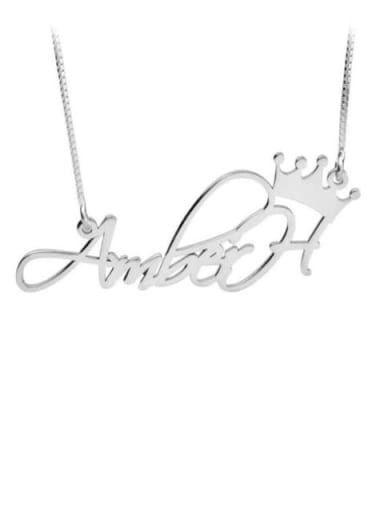 Aber style Personalized Princess Crown Name Necklace silver