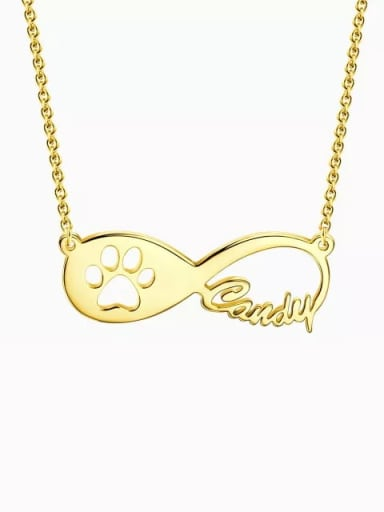 18K Gold Plated Customized Dog Paw Print Infinity Name Necklace Silver